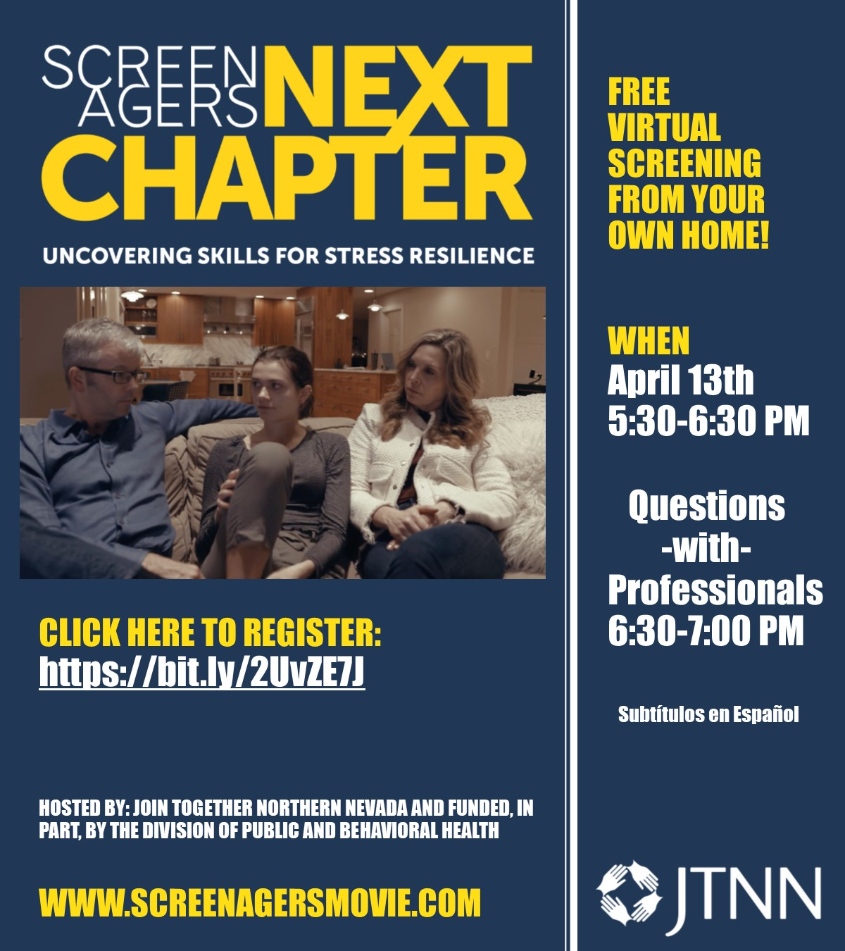 Screenagers: The Next Chapter, FREE VIRTUAL Screening! @ Your Own Home!