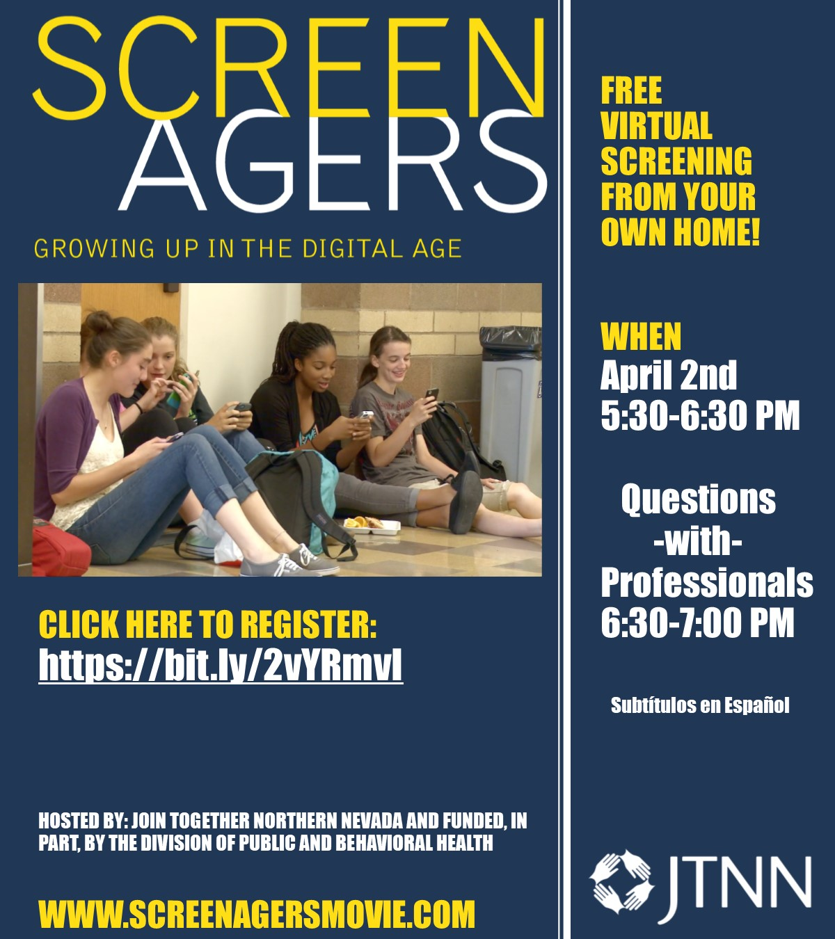 Screenagers: Growing up in the Digital Age, FREE VIRTUAL Screening! @ Your Own Home!